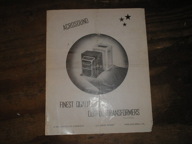 Contains information about Acrosound Transformers.