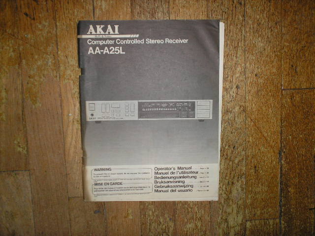 AA-A25L Receiver Operators Manual  AKAI