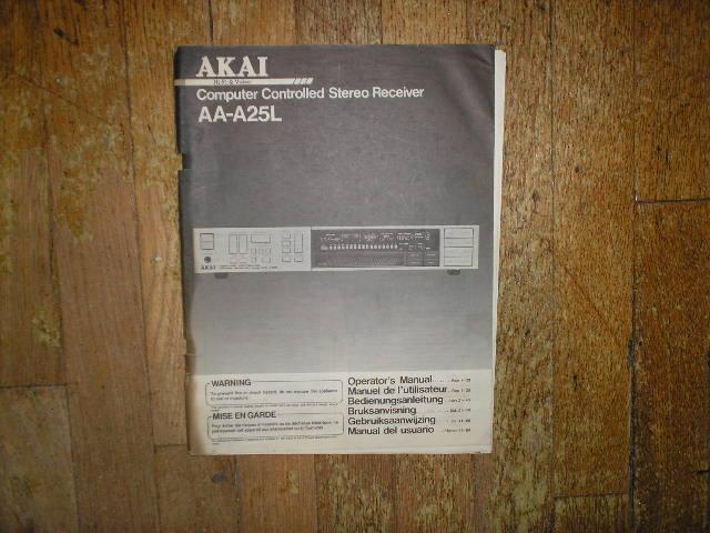 AA-A25L Receiver Operators Manual