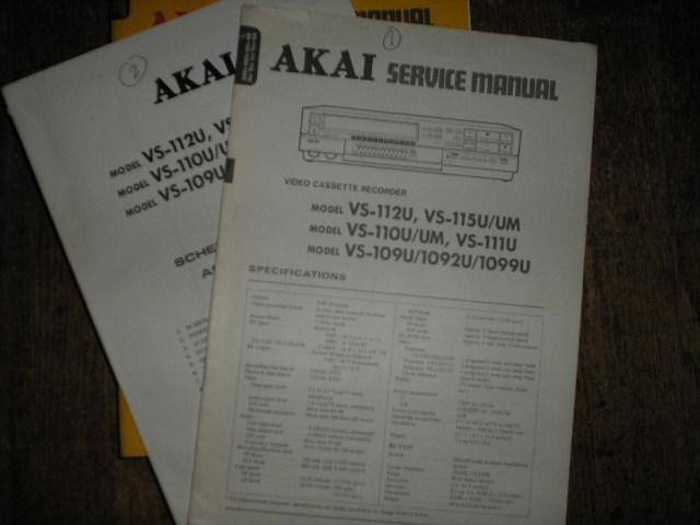 VS-112U VS-115U UM VS-110U UM VS-111U VS-109U VS 1092U VS-1099U  VHS VCR Service Manual..   2 Manual Set
