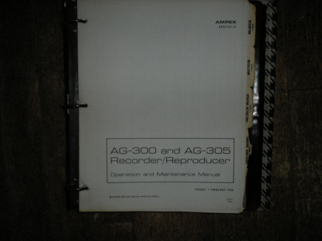 AG-300 AG-305 Recorder Reproducer Service Manual