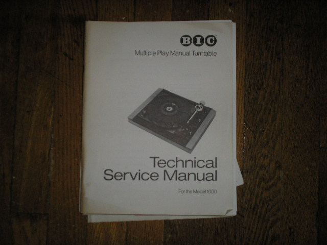 1000 Turntable Service Manual  BIC