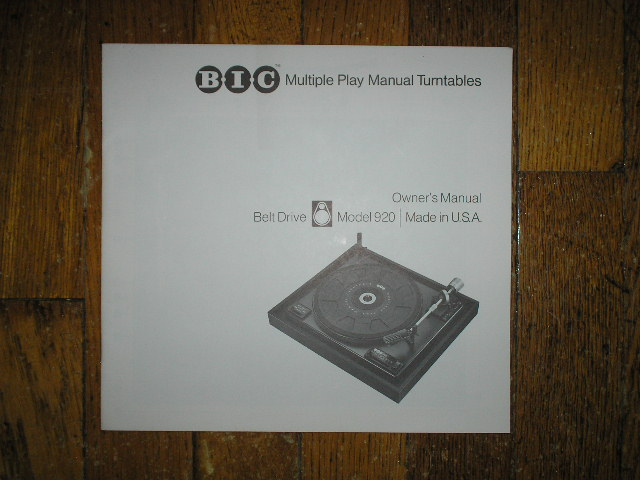920 Turntable Owners  Manual  BIC