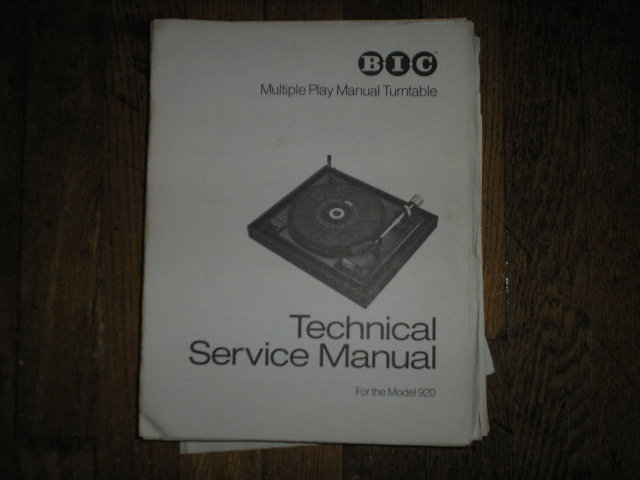 920 Turntable Service Manual  BIC