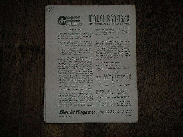 B50-16/X Record Player  Instruction Manual  Bogen