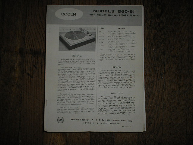 B60 B61 Record Player  Instruction Manual  Bogen