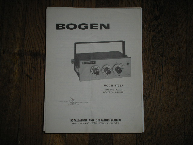 BT35A P. A. Amplifier Service and Instruction Manual with schematic