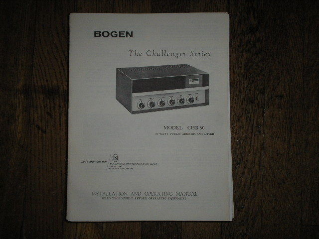 CHB50 Challenger P. A. Amplifier Service and Instruction Manual with Schematic Jan 1965