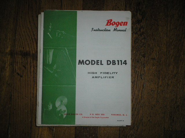DB114 High Fidelity Amplifier Service and Instruction Manual with Schematic