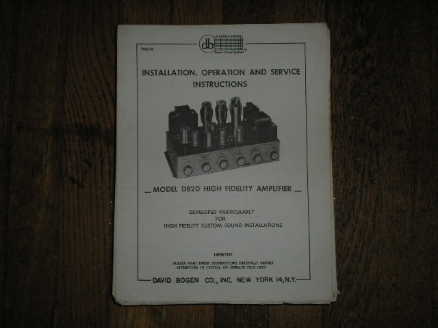 DB20 High Fidelity Amplifier Service and Instruction Manual with Schematic
