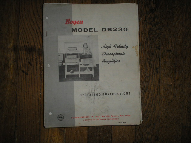 DB230 High Fidelity Amplifier Service and Instruction Manual with Schematic