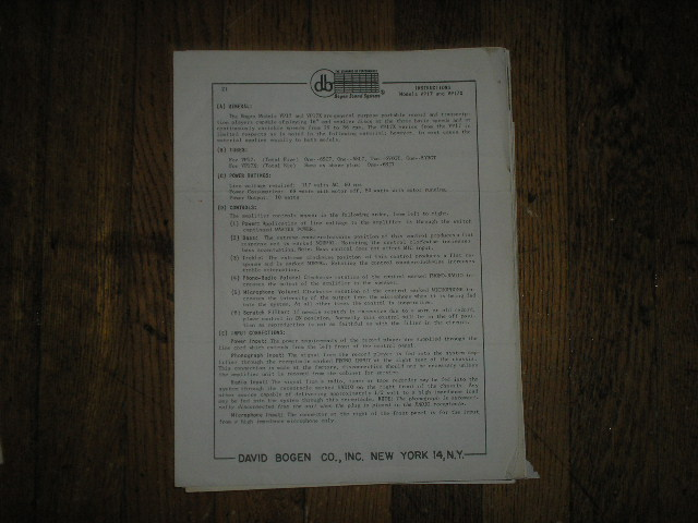 VP17 VP17X  RECORD PLAYER  Instruction Manual  Bogen
