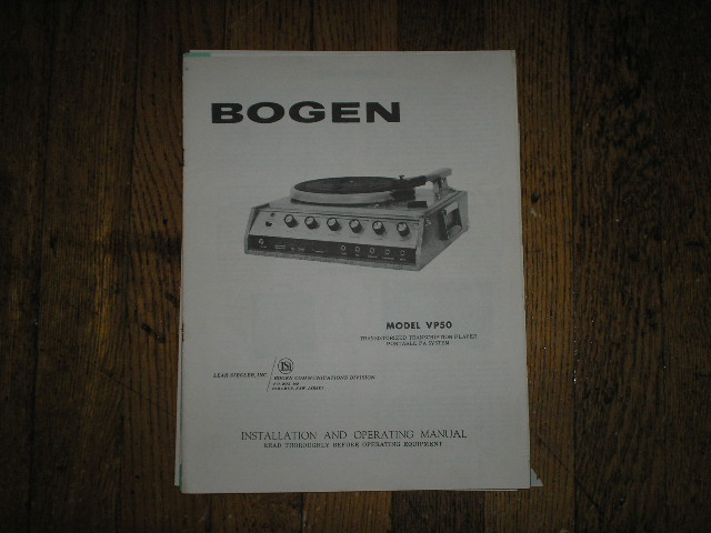 VP50  RECORD PLAYER  Instruction Manual  Bogen