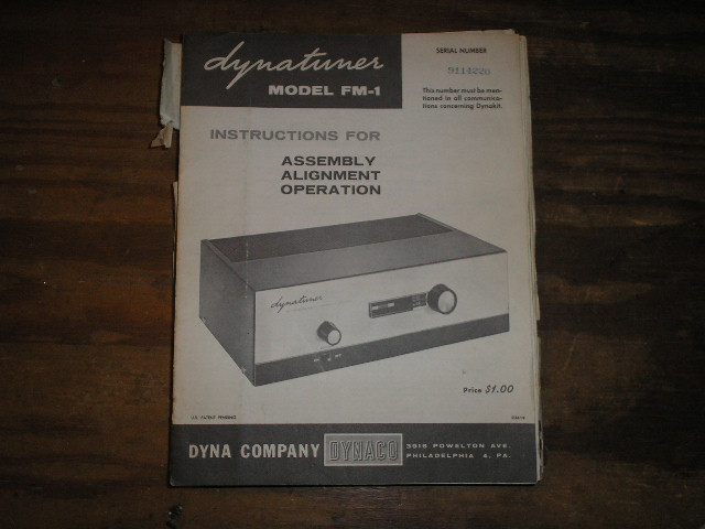 FM-1 Tuner Assembly Manual.  Serial on the manual is  Serial no. 9114220..  contains a schematic, parts list, and the assembly instructions