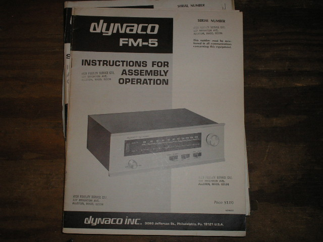 FM-5 TUNER Assembly Manual..This manual contains a schematic,parts list, and the assembly instructions..