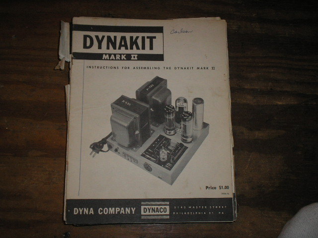 MARK 2 II  Pre-Amplifier Assembly Manual. Serial on the manual is   Serial no. 2514803.. contains a schematic, parts list, and the assembly instructions