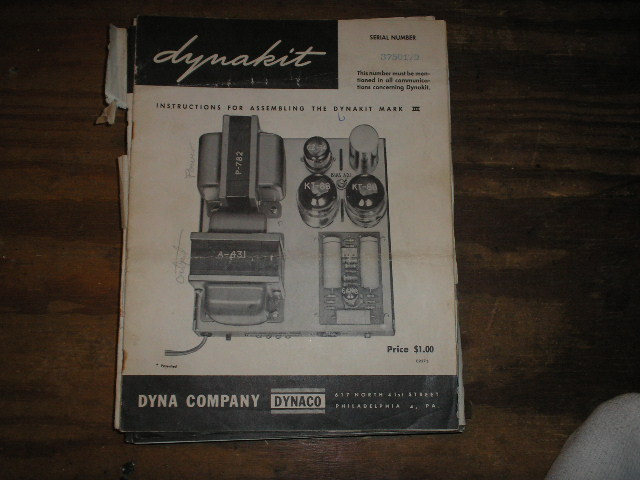MARK 3 III POWER AMPLIFIER Assembly Manual.. Serial no. on the manual is  Serial no. 3750179...This manual contains a schematic,parts list, and the assembly instructions..