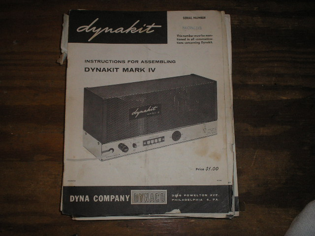 MARK 4 IV POWER AMPLIFIER Assembly Manual.. Serial no. on the manual is Serial no. 8038093. This manual contains a schematic,parts list, and the assembly instructions..