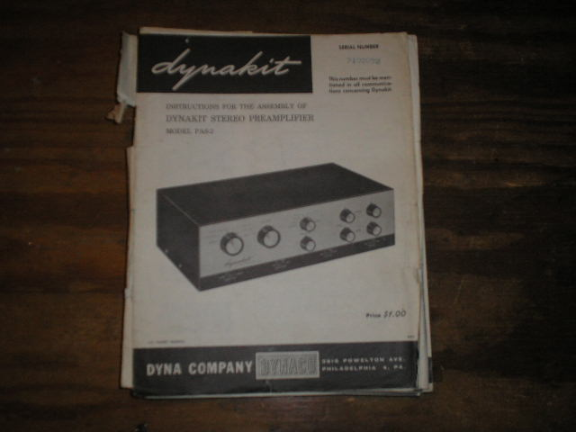 PAS-2 PREAMPLIFIER Assembly Manual.. This manual contains a schematic,parts list, and the assembly instructions..