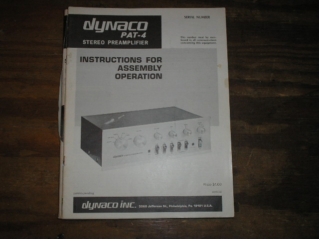 PAT-4 PREAMPLIFIER Assembly Manual..This manual contains a schematic,parts list, and the assembly instructions..