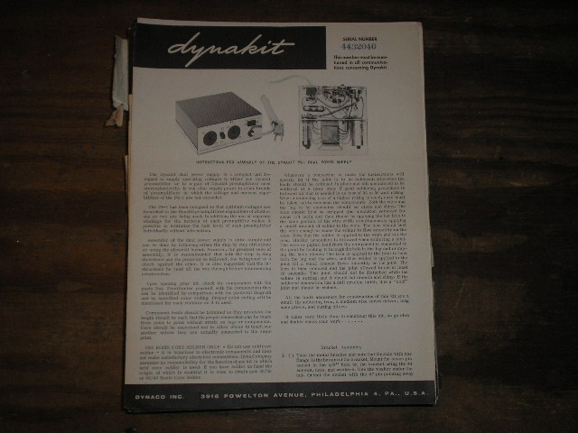 PS-1 Dual Power Supply Assembly Manual.  Serial on the manual is  Serial no. 4432040..  Contains a schematic,parts list, and the assembly instructions