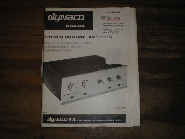 SCA-35 STEREO CONTROL AMPLIFIER assembly manual..   serial no. 15920834..  contains a schematic,parts list, and the assembly instructions