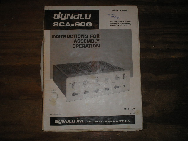 SCA-80Q CONTROL AMPLIFIER Assembly Manual contains a schematic,parts list, and the assembly instructions