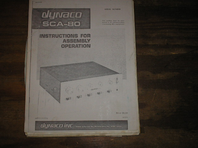 SCA-80 CONTROL AMPLIFIER Assembly Manual contains a schematic,parts list, and the assembly instructions
