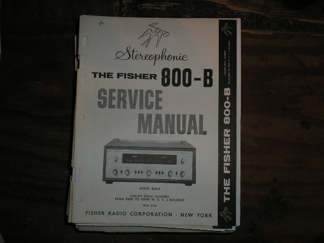 800-B Receiver Service Manual from Serial no. 10001 - 19999 WXYZ INCLUSIVE  Fisher