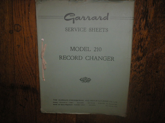 209 210 Record Changer Turntable Service Manual  GARRARD