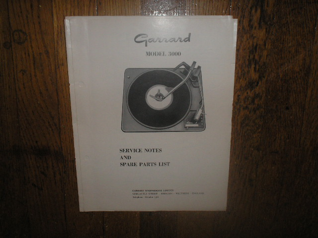 3000 Turntable  Exploded View and Parts Manual..  GARRARD