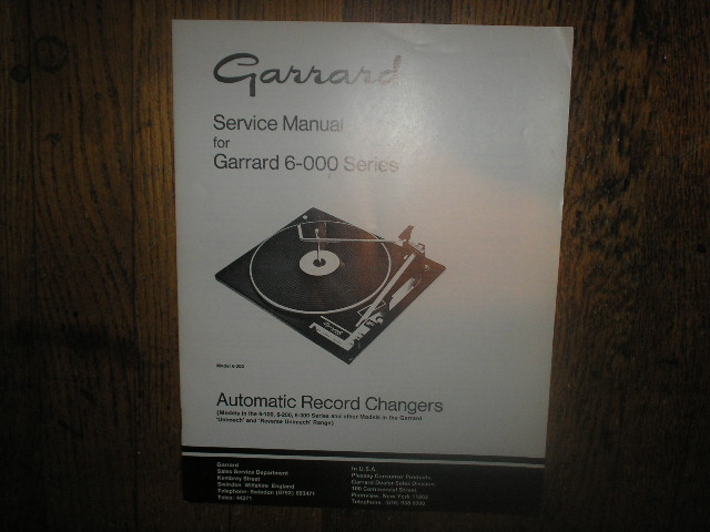 6-000 6-100 6-200 6-300 Series Turntable Service Manual  GARRARD