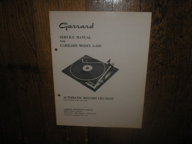 6-300  6-100 6-200 Series Turntable Service Manual  GARRARD