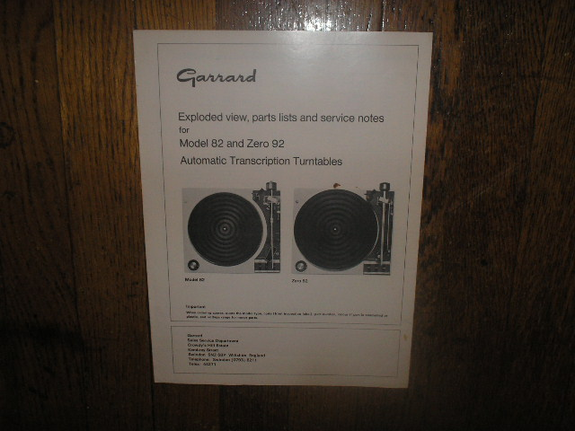 82 ZERO 92 Turntable Service Manual  GARRARD