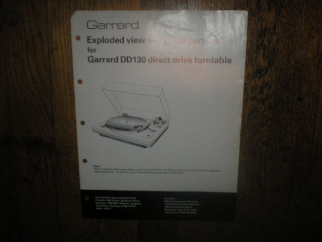 DD130 Turntable Service Manual  GARRARD