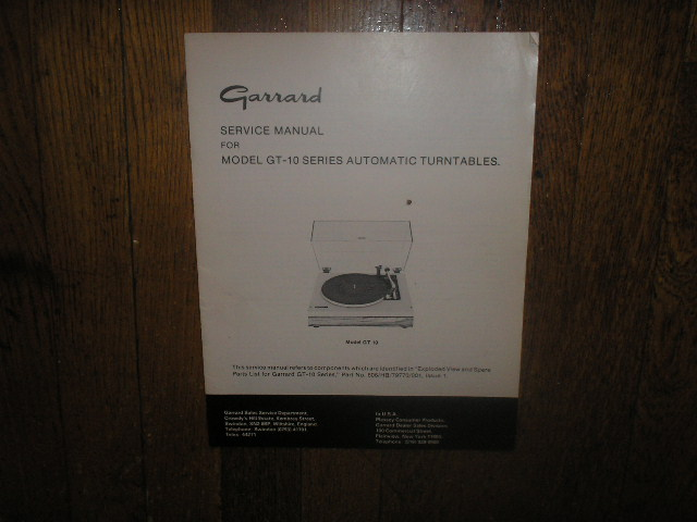 GT-10 Turntable Service Manual  GARRARD