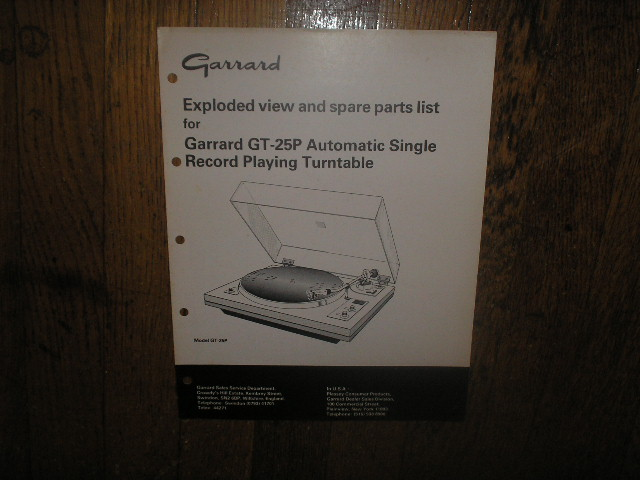 GT-25P Turntable Exploded  View and Parts Manual  GARRARD