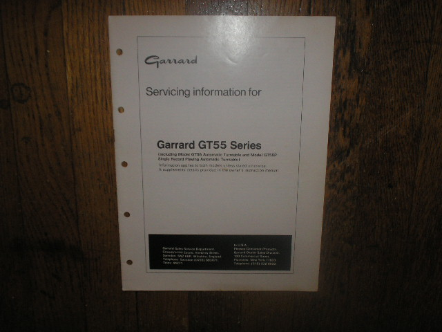 GT-55 Turntable Service Manual  GARRARD