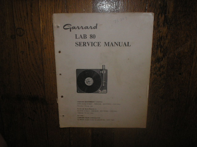 LAB 80 Turntable Service Manual  GARRARD