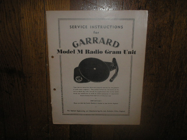 M TYPE M PHONOGRAPH Turntable Service Manual  GARRARD