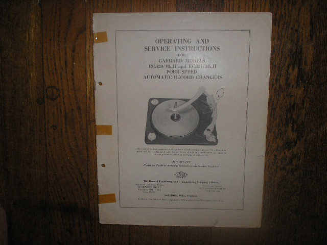 RC-120 Mk 2 II RC-121 Mk 2 II PHONOGRAPH Turntable Service Manual  GARRARD