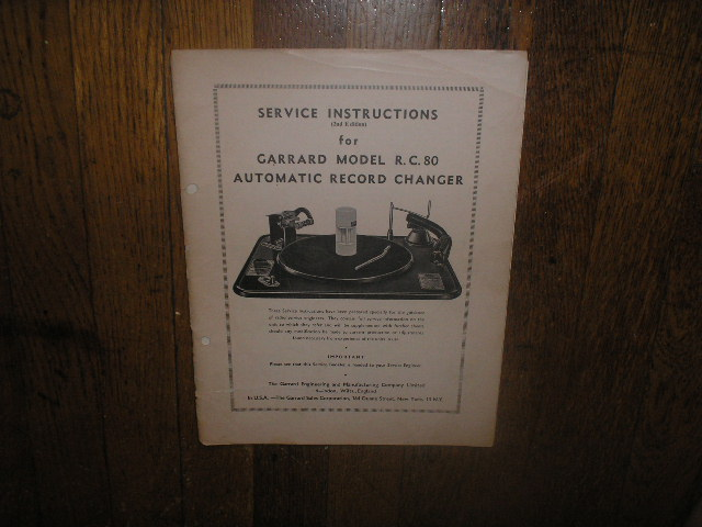 RC-80 PHONOGRAPH Turntable Service Manual 2  GARRARD
