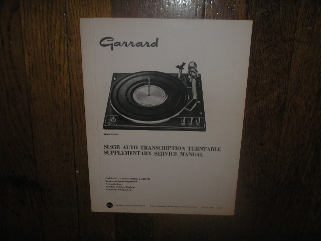 SL95B Turntable Supplementary Service Manual  GARRARD