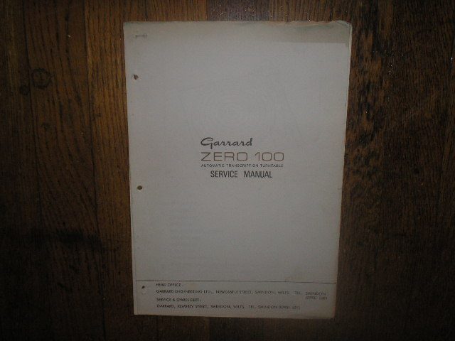ZERO 100  Turntable Service Manual  GARRARD