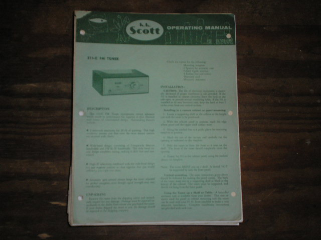 311-C Tuner Operating Instructions plus Schematic