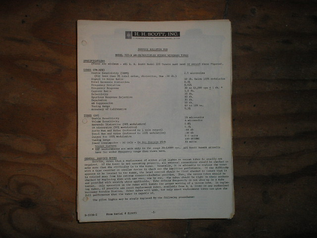 333-B Tuner Service Manual.. Schematic is dated September 10th 1963