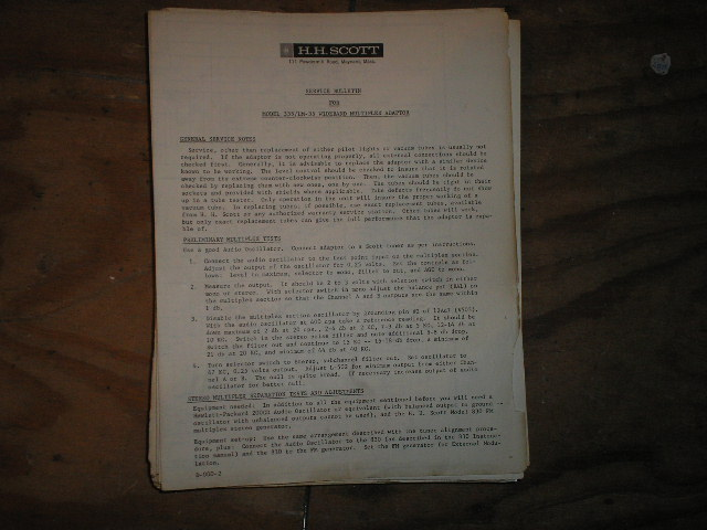 335 LM-35 Multiplex Adaptor Service Manual.. Schematic is dated May 24th 1961