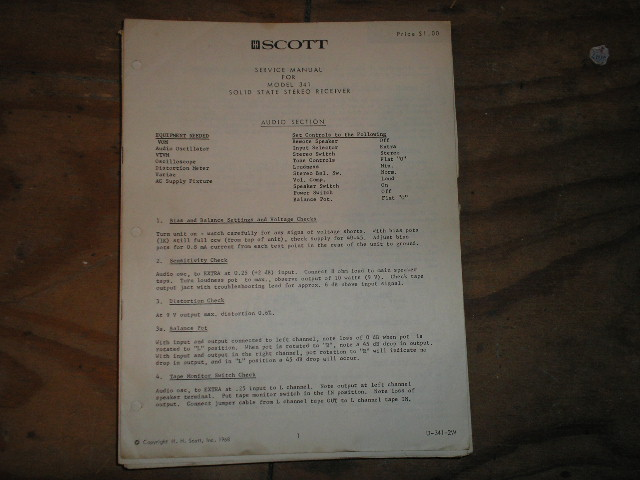 341 Receiver Service Manual  H.H. Scott