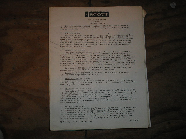388-B Tuner Addenda Schematic Service Manual