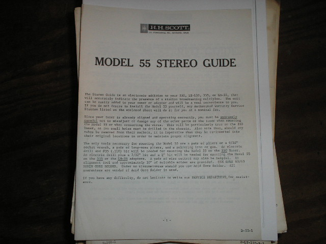 Model 55 Operating Instruction Manual  H.H. Scott